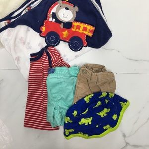 🎉Bundle baby boy shorts top bath towel hat B6-30